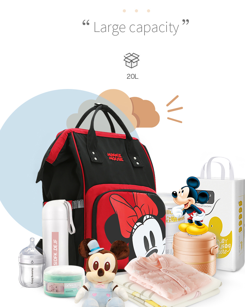HTB1NZOaX8GE3KVjSZFhq6AkaFXak Disney Cute Minnie Mickey Red Diaper Bag Waterproof/Baby Care/Mummy Bag Maternity Backpack Large Nappy Bag Striped Bow Dot Smile