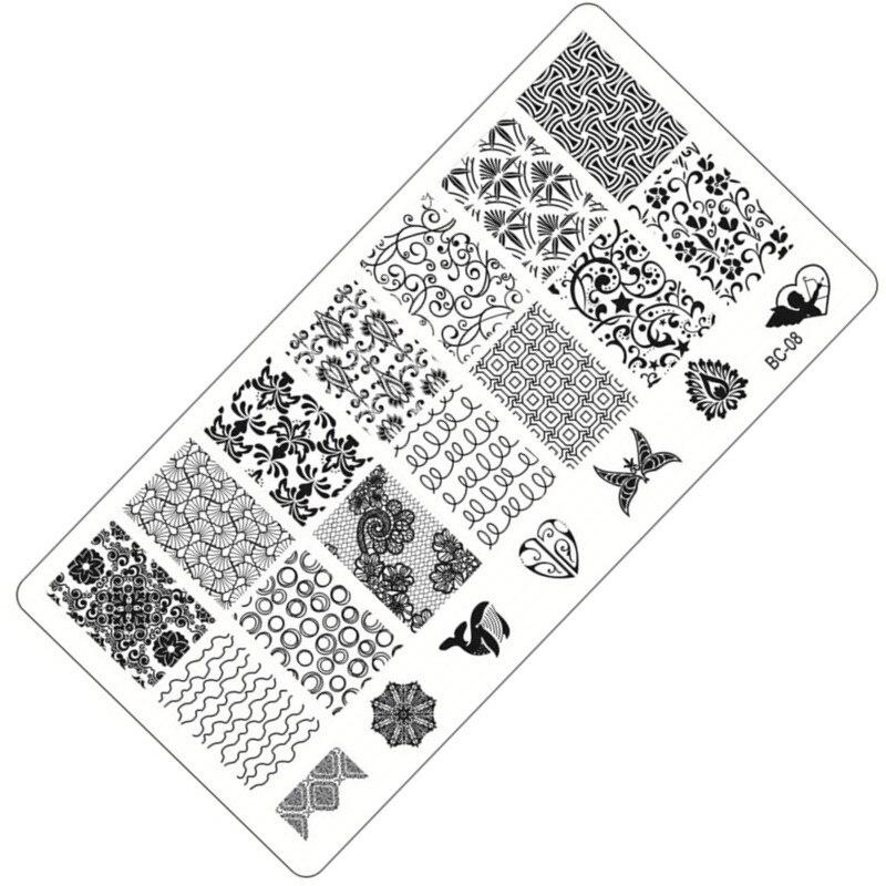1 x Moda de Encaje de Flores Diseño de la Imagen Del Arte Sello Polaco Stamping
