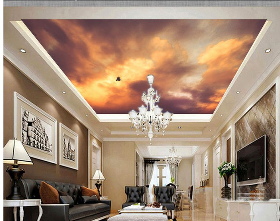 3d customized wallpaper Sky bird ceiling roof background wall murals