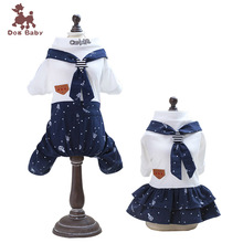 2019 New Navy Style Dog Clothes Boy And Girl Lovers Couple Outfit Summer Pet Clothing Jumpsuit Dog Dress Costume Apparel
