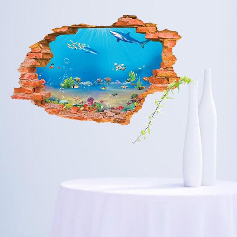 3D Sea Wall Sticker Ocean View Fish Window Wall Sticker Nursery Bathroom Decals Sea Portal Peel Stick Wall Art for Kids Rooms