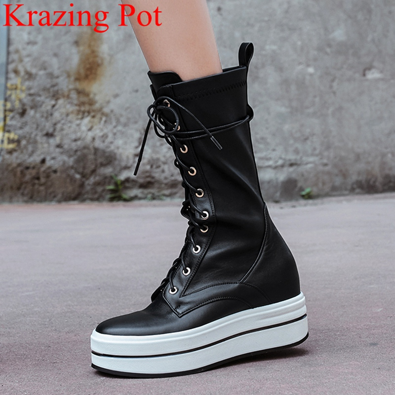 2018 superstar lace up genuine leather flat with women mid-calf boots thick bottom winter shoes casual elegant fashion boots L10 laconic women s mid calf boots with lace up and chunky heel design