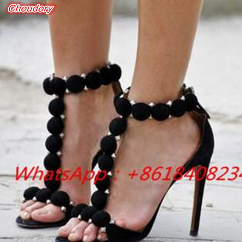 Sexy SuperThin High Heels Party font b Shoes b font Pom Pom Ankle Strap Studded Suede
