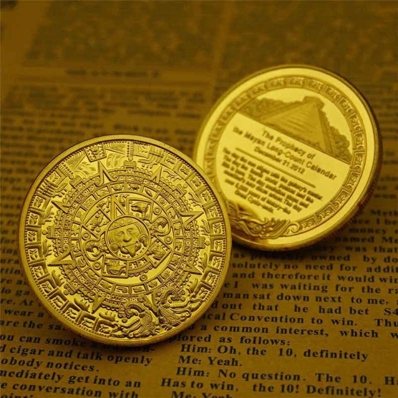 Moneda de memoria Maya, piramides, monedas americanas, oro azteca de México y plata, monedas extranjeras sin moneda
