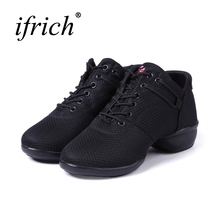 купить Ifrich 2017 Dancing Shoes For Women Breathable Jazz Dance Shoes Women Black Jazz Sneakers New Cool Ballroom Shoes Girls по цене 1452.57 рублей
