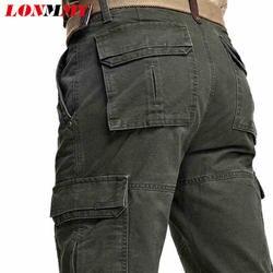 LONMMY 30-42 армейские штаны-карго мужские брюки военные брюки мужские 100% хлопок Повседневная одежда прямая мульти-карман 2018 зима