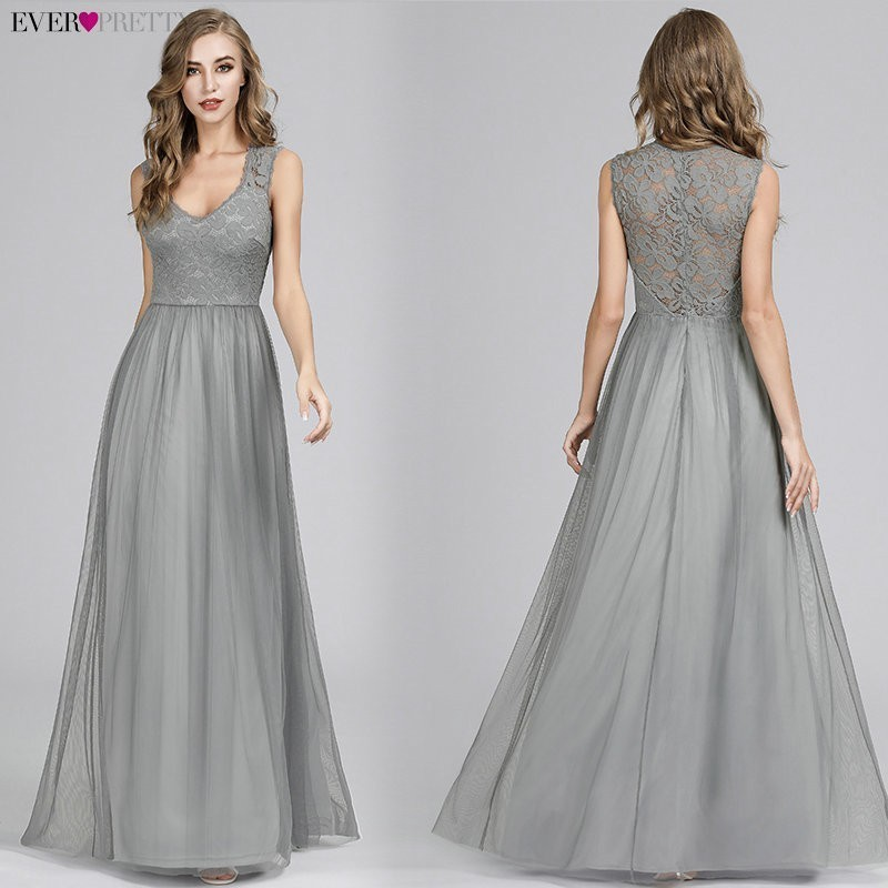 Evening Dresses Long 2020 Ever Pretty EP07509 Elegant A-line V-neck Tulle Sleeveless Lace Appliques Formal Evening Party Gowns