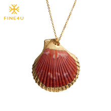 FINE4U N153 Natural Sea Shell Pendant Necklace For Women Stainless Steel Chain Necklaces 2019 Summer Shell Jewelry(China)