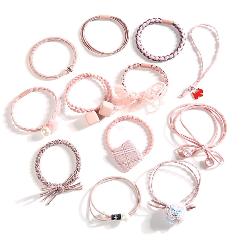 1 Set Women Bow Pearl Elastic Hair Bands Hair Rope Gum Rubber Band Cute Women Hair Accessories