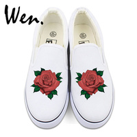Wen Original Floral Slip On Shoes Design Custom Red Rose Flowers Canvas Sneakers White Black 2