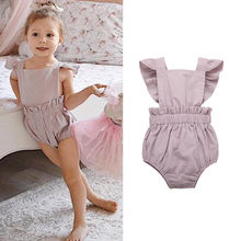 Newborn baby girl romper summer 2019 Cute Solid Bow Ruffled Cotton Playsuit infant girl romper jumpsuit ribbed baby clothes(China)