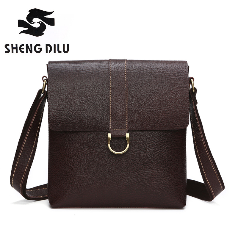 Shengdilu Man Messenger Bag Real Cow Leather Men Shoulder Bags Business Crossbody Casual Bag Famours Brand Handbag high Quality