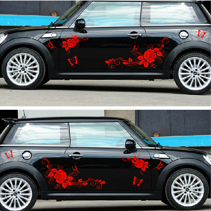 Nouveau 150 CM Drôle De Voiture Autocollant Amour De Papillons et autocollant de fleurs Corps Entier Vinyle Wrap Voiture Corps Couvre Auto Accessoire JDM Autocollants