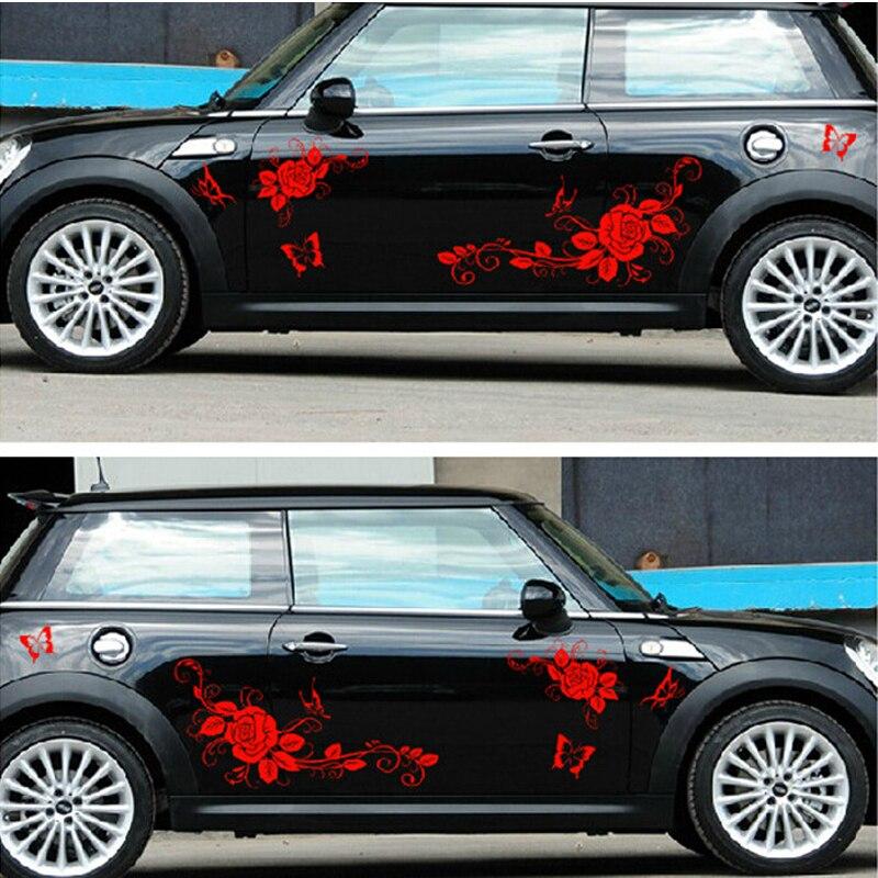 Nouveau 150 CM autocollant de voiture drôle amour des papillons et fleur décalcomanie corps entier vinyle Wrap voiture carrosserie couvre Auto accessoire JDM autocollants