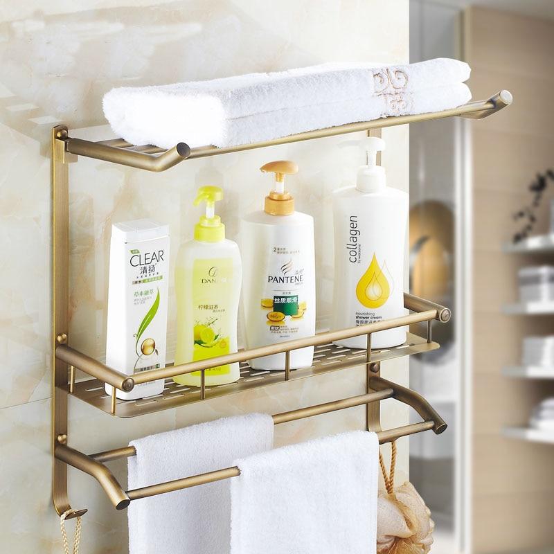 1/2 Tier Copper square bathroom shelf gold, 3 type Brass shelf towel ...