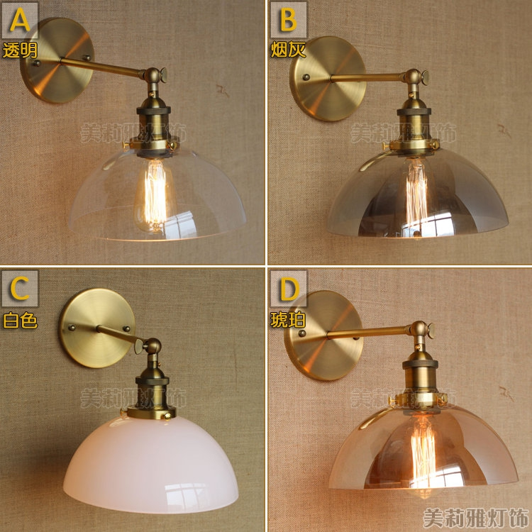 ФОТО Brass Nordic Glass Retro Style Loft Industrial Wall Lamp Lights Applique Murale LED Stair Light Edison VIntage Wall Sconce