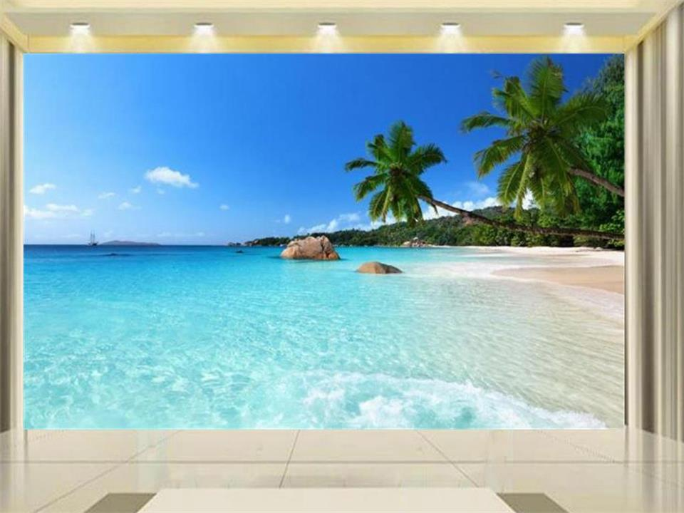 Custom-made Photo Wallpaper Palm Beach Scenery Sea Beach Sofa Tv Background Mood To Enjoy Nature Mural Wall Paper Goods Of Every Description Are Available Painting Supplies & Wall Treatments
