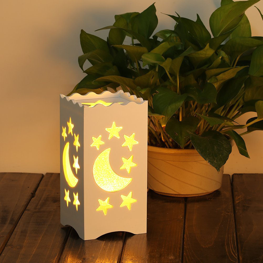 Star Moon Hollow Carvrd Table Lamp With Shade Night Light Table Led Lamp Desk Light Baby Room Lamp Stars Night Lamp Lighting novel birds led night light wall night desk lamp with sticker