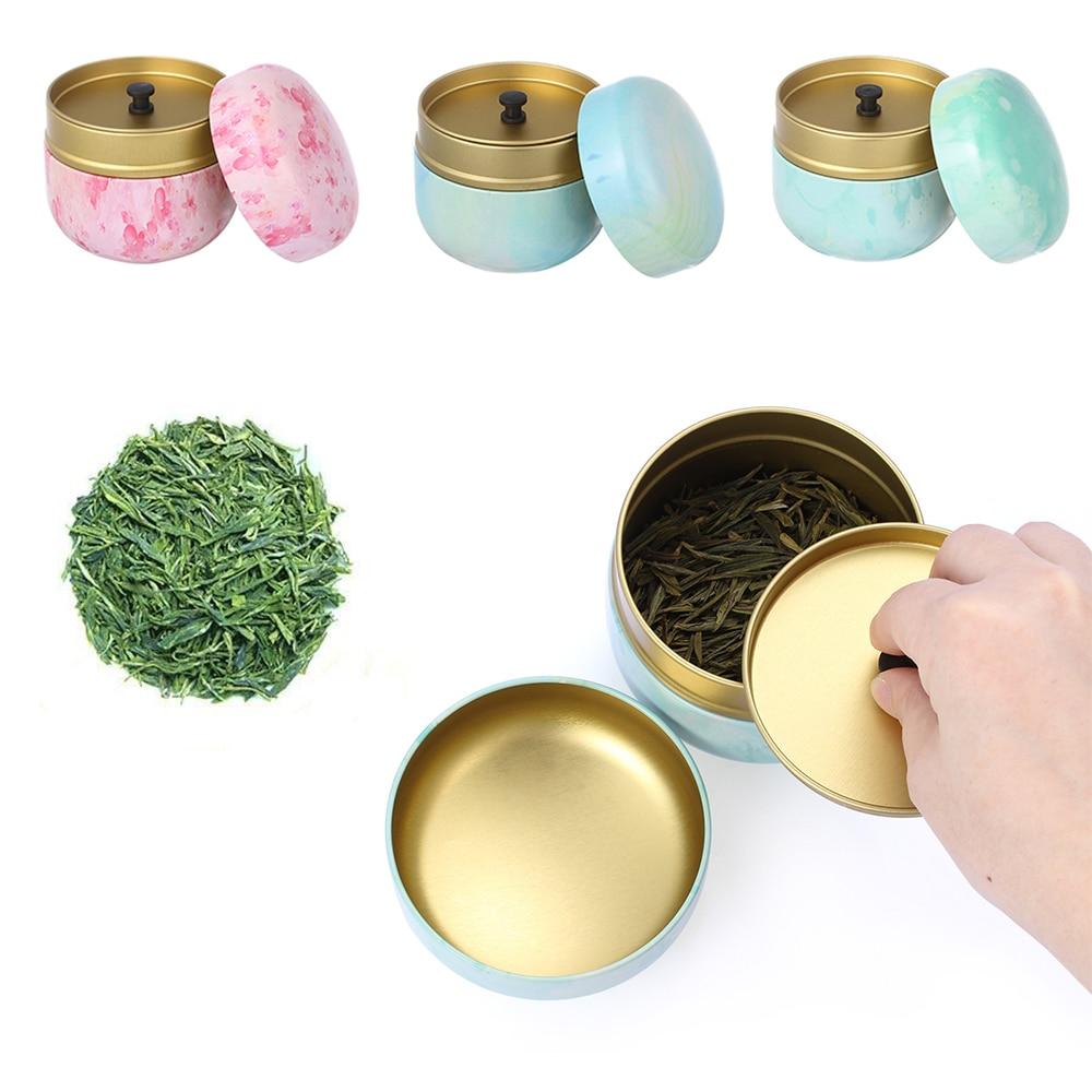 1Pc Tea Box Tea Jar Storage Holder Tea Caddies Matcha Container Mini Food Coffee Powder Organizer Cans Multifunction Round Metal