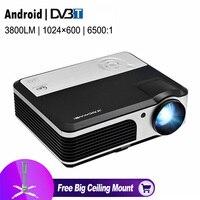 TV kỹ thuật số Chiếu HDMI USB VGA AV TV 1080 p LED Beamer Android Wifi Kết Nối Không Dây vào Điện Thoại Thông Minh Máy Tính Bảng Ipad PC