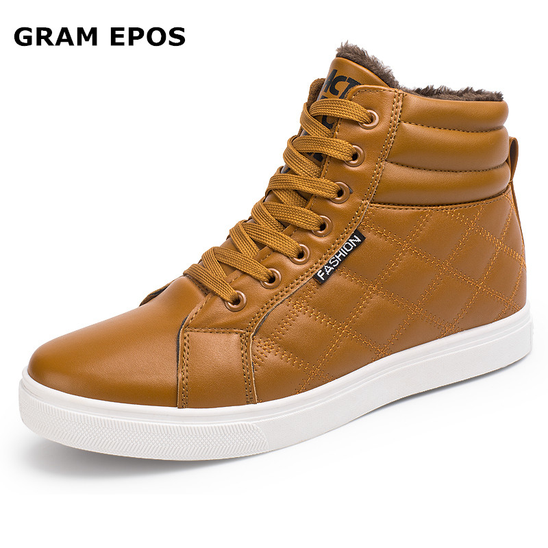 GRAM EPOS Men Winter grid Warm Plush shoes Male Lace UP Hip Hop Ankle Boots Autumn Leather Winter Men Booties Brand Men Shoes цены онлайн