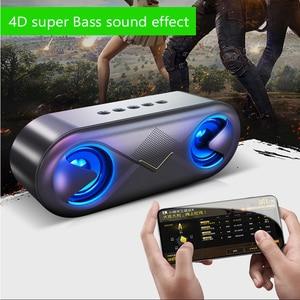 Image 2 - אלחוטי Bluetooth רמקול LED נייד חיצוני ום בס עמודה סאב תיבת קול עם מיקרופון תמיכה TF כרטיס AUX USB רמקולים