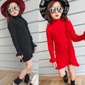 Novo inverno 2016 meninas na borda preta fungo lace manga longa malha tornar sem forro camisola vestuário superior frete grátis