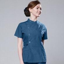 Одежда для мужчин и женщин, новинка, с коротким рукавом, синяя хирургическая лаборатория, одежда медсестры, два комплекта