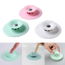 1pc Circle Silicone Sink Strainer Filter Water Stopper Bathtub Plug Shower Filter Floor Drain Basin Hair Catcher Water Stopper