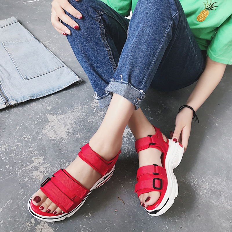 HEE GRAND Sports Sandals Ladies Platform Shoes Woman Mid Heel Muffin Thick Bottom Fashion Casual Red Yellow Summer Shoes XWZ5792HEE GRAND Sports Sandals Ladies Platform Shoes Woman Mid Heel Muffin Thick Bottom Fashion Casual Red Yellow Summer Shoes XWZ5792