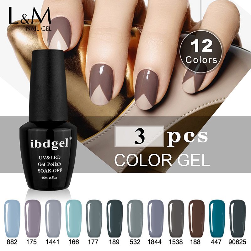 3 pcs kit grey color gel uv led lamp vernis semi permanent nail polish gelpolish 15ml shining