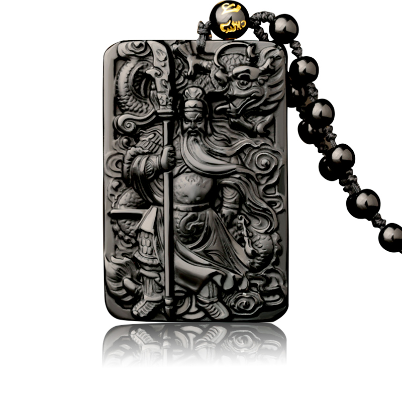 Natural Obsidian Pendant with Beads Chain Dragon Guan Gong Guan Yu Hold Broadsword Knight Pendant Necklace for Men/women Jewelry 15 chinese folk bronze painted seat general guan gong yu warrior god broadsword dsd66