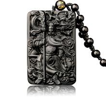 Natural Obsidian Pendant with Beads Chain Dragon Guan Gong Guan Yu Hold Broadsword Knight Pendant Necklace for Men/women Jewelry mozart the statue of guan gong enshrines the god the sword lifts guan gong guan yu guan er ye wu caishen lucky ornaments