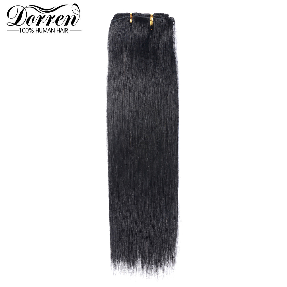 Human-Hair-Extensions Doreen Clip-In 100%Straight-Hair Short 12-14 16-Malaysia 7-Pieces