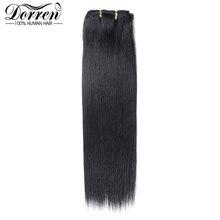 Doreen 10 12 14 16 Malezya Kısa Çift Atkı Klip insan saçı postiş Kalın 100% Düz Saç saç eki 7 Adet