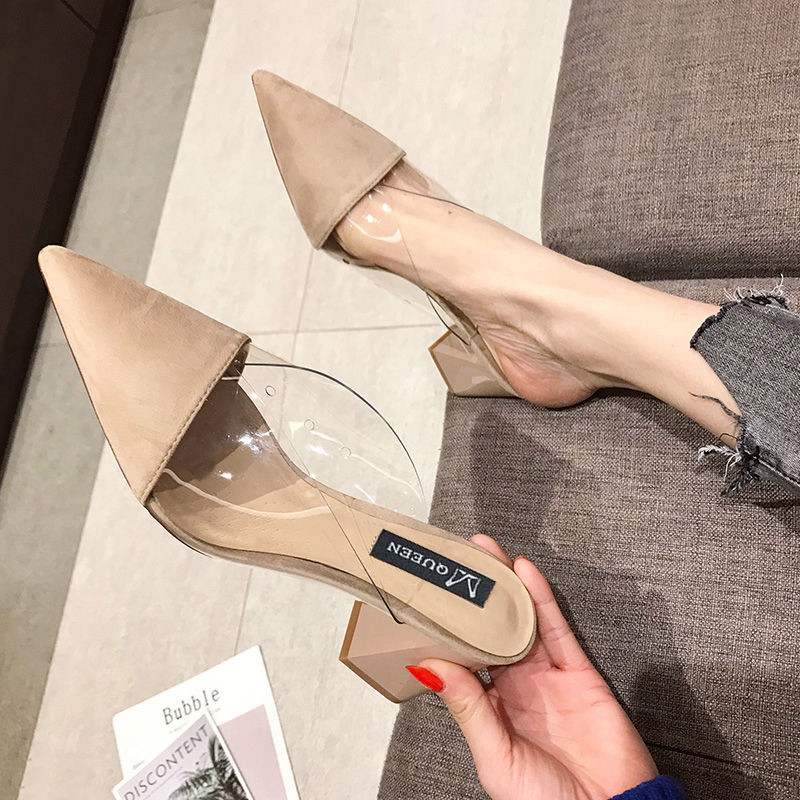 Pointed Toe Suede Square Heel High Heels Muller Slippers Women 2019 Summer Shoes Women Fashion Patchwork Shallow Ladies Shoes