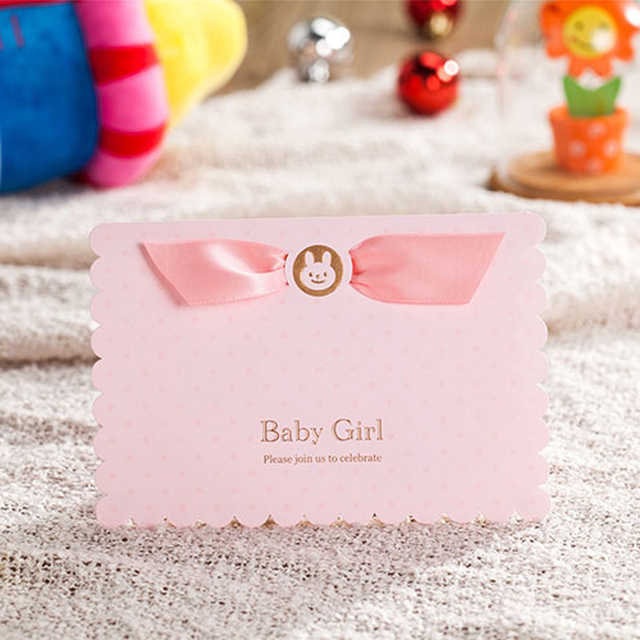 50 Pieces Lot Baby Boy Girl 3D Pop Up Birthday Invitation Card Shower Personalized Baptism Invitations CW5301