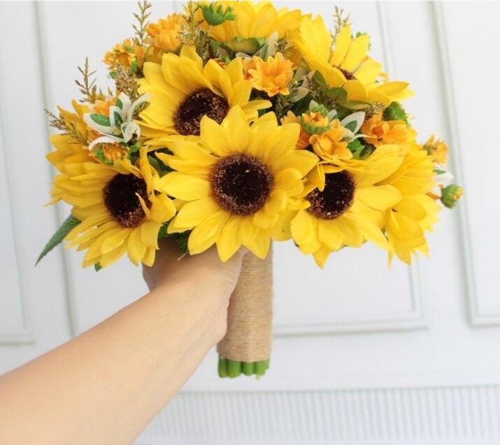 2017 New Style Artificial Suflowers Yellow Wedding Bouquets For Brides Wedding Flowers Bridal Bouquets Boeket Bruiloft