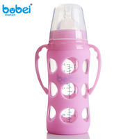 240ml Baby Silicone Glass Milk Feeding Bottle Width Mouth Y Shape Adjust Infant Water Cup Hand