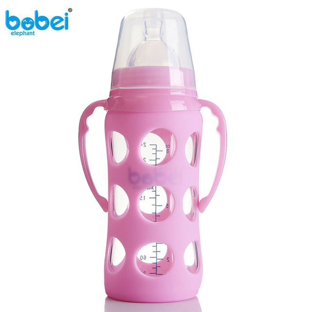 240ml Baby Silicone Glass Milk Feeding Bottle Width Mouth Adjust Water Cup Hand Holder Shatter Proof Milk Bottles christmas gift