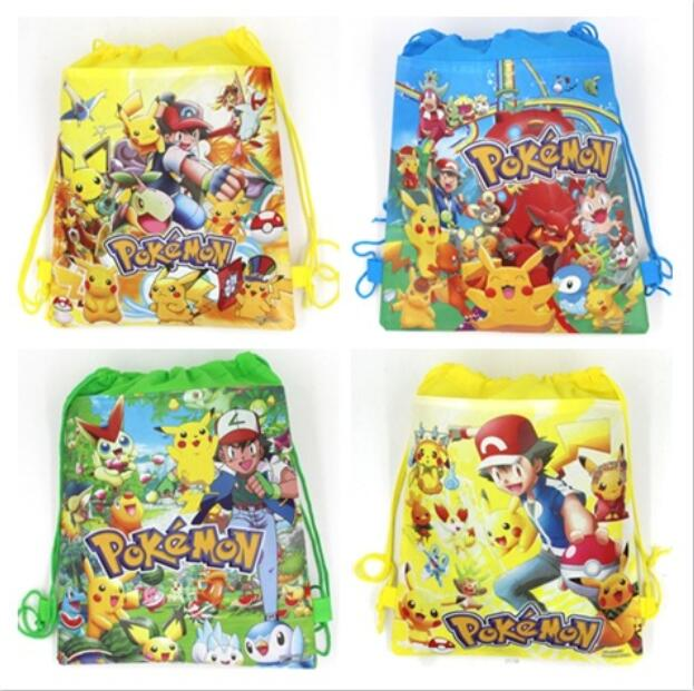 2 Pcs / Lot Pokemon Pikachu Students Backpack Schoolbag Small Snack Stationery Pencil Bags