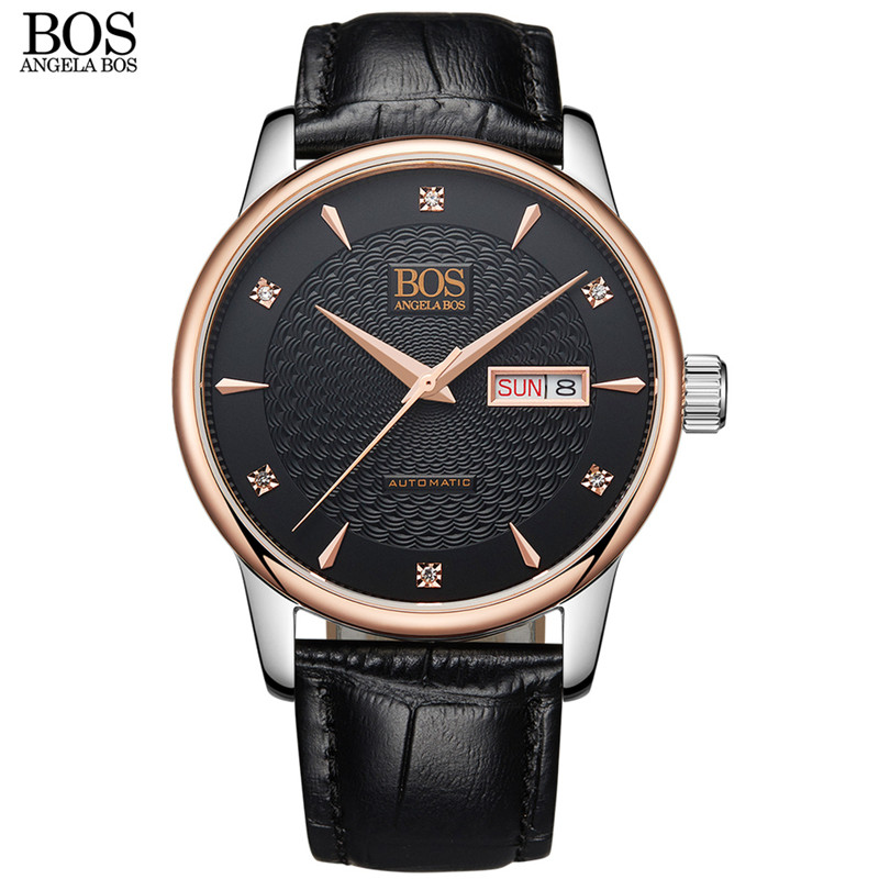 ANGELA BOS Self Wind Automatic Wristwatch Business Mechanical Watch Men Sapphire Wavy Pattern Genuine Leather Luxury Watches deluxe ailuo men auto self wind mechanical analog pointer 5atm waterproof rhinestone business watch sapphire crystal wristwatch