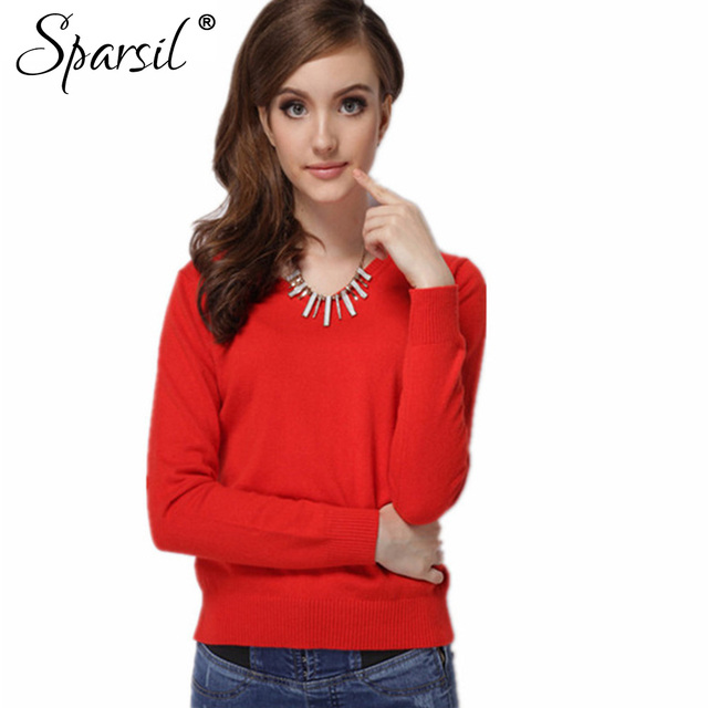 Sparsil Women Autumn Winter Cashmere Blend Sweater Knitted Thin Pullover Female Have O-Neck&V-Neck Sweaters Total 12 Colors XXXL