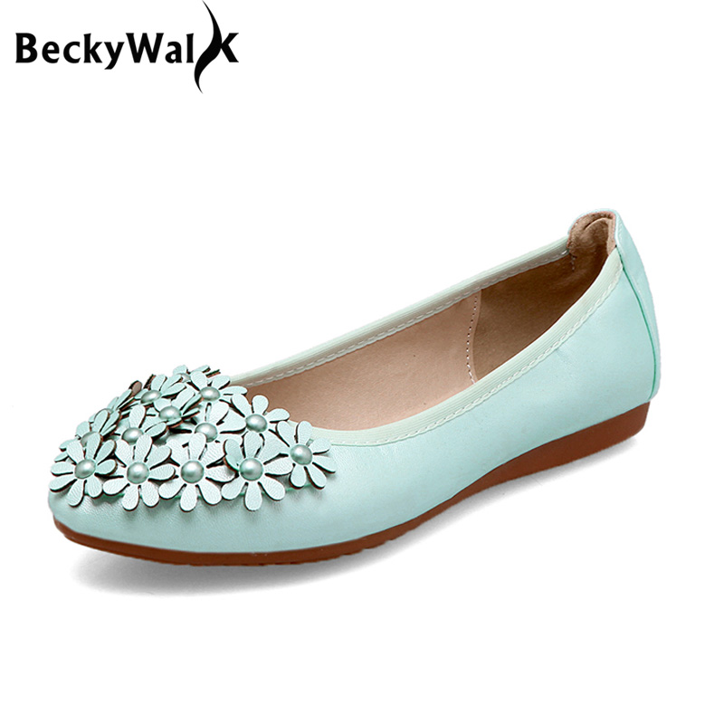 Large Size 43 44 45 Slip On Women Flats Fashion Flowers Foldable Female Ballet Flats Soft Sole Spring Casual Ladies Shoe WSH2472(China)