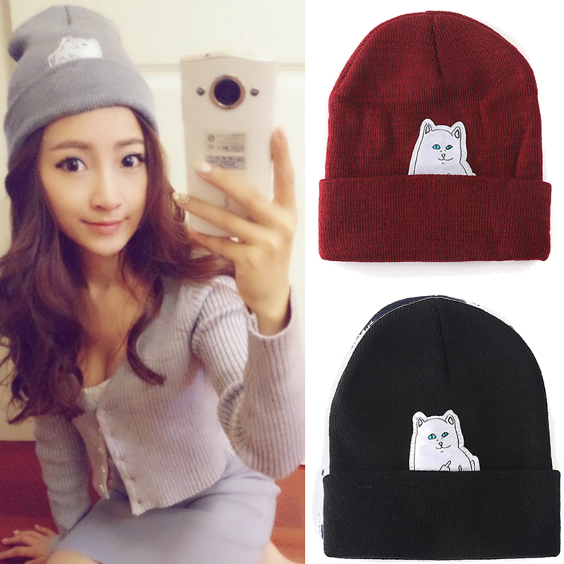 2017 Women Knitted Cap Hip Hop Cat Hat Skullies & Beanies Women Beanies Men Street Dance Mask Winter Gorro Free Shipping women cap skullies
