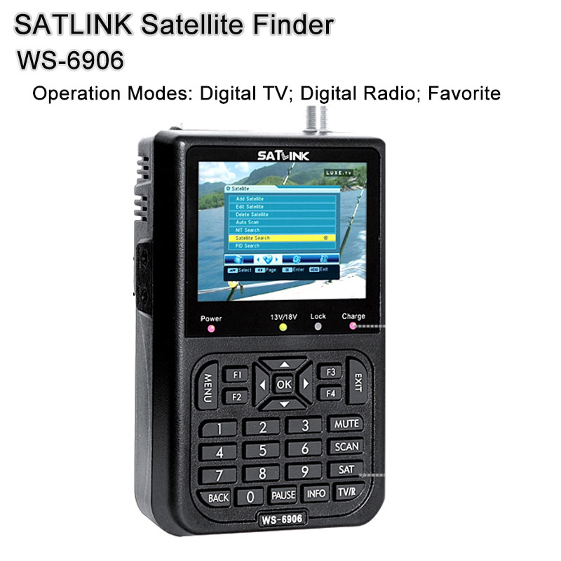 SATLINK WS6906 DVB-S 3.5 inch search Channel FTA digital satellite meter satellite finder satellite satFind LCD WS 6906 satlink ws 6979se dvb s2 dvb t2 mpeg4 hd combo spectrum satellite meter finder satlink ws6979se meter pk ws 6979