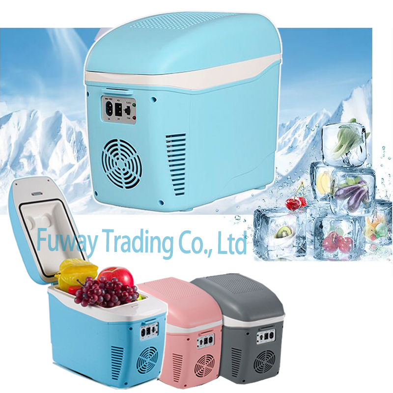 Free Shipping Mini Auto 12V Car home small refrigerator 7 5L portable cooler box heating box