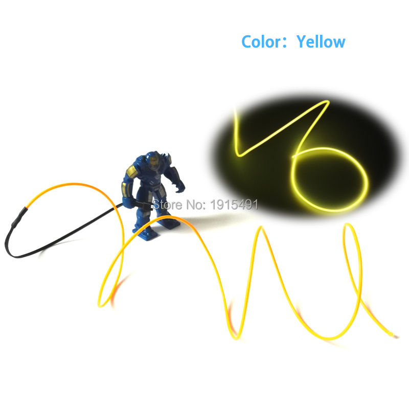 1.5V 1Meter Handmade Cartoon Figure Yellow 2.3mm EL Cable Rope Neon Led Strip for Halloween Pumpkins,Christmas Trees Decoration