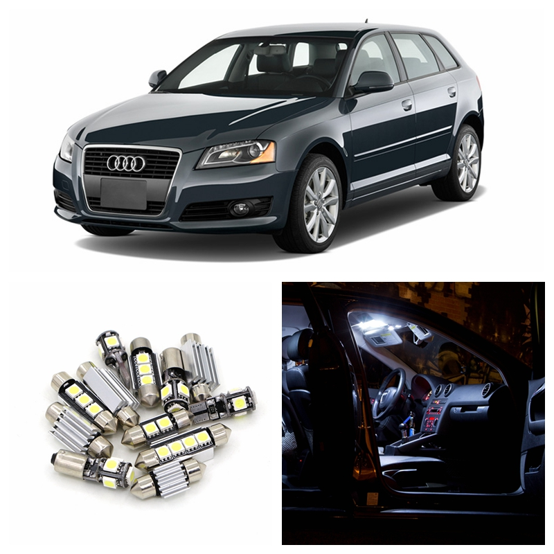 16pcs White Canbus Car LED Light Bulbs Interior Package Kit For 2006-2012 Audi A3 8P Map Dome Vanity Mirror License Plate Lamp 2pcs 12v 31mm 36mm 39mm 41mm canbus led auto festoon light error free interior doom lamp car styling for volvo bmw audi benz