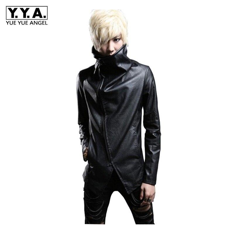 Nouveau Vintage hommes gothique col roulé Pu veste en cuir Slim Fit Punk Style vêtements d'extérieur manteau moto personnalité coupe-vent vestes
